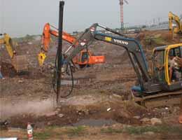 沃尔沃小挖改装山东即墨土石方工程